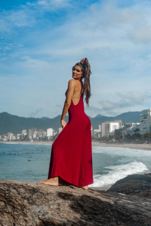 MACACÃO VERÃO RIBANA  BORDEAUX